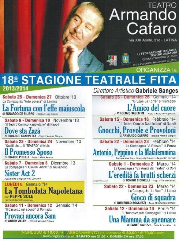 """Programma """"Teatro Armando Cafaro"""" 2013/ 2014"""
