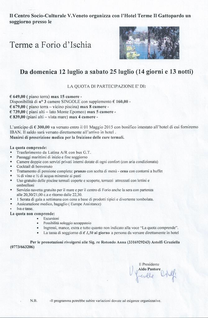Soggiorno termale ad Ischia | CENTRO SOCIO CULTURALE ANZIANI