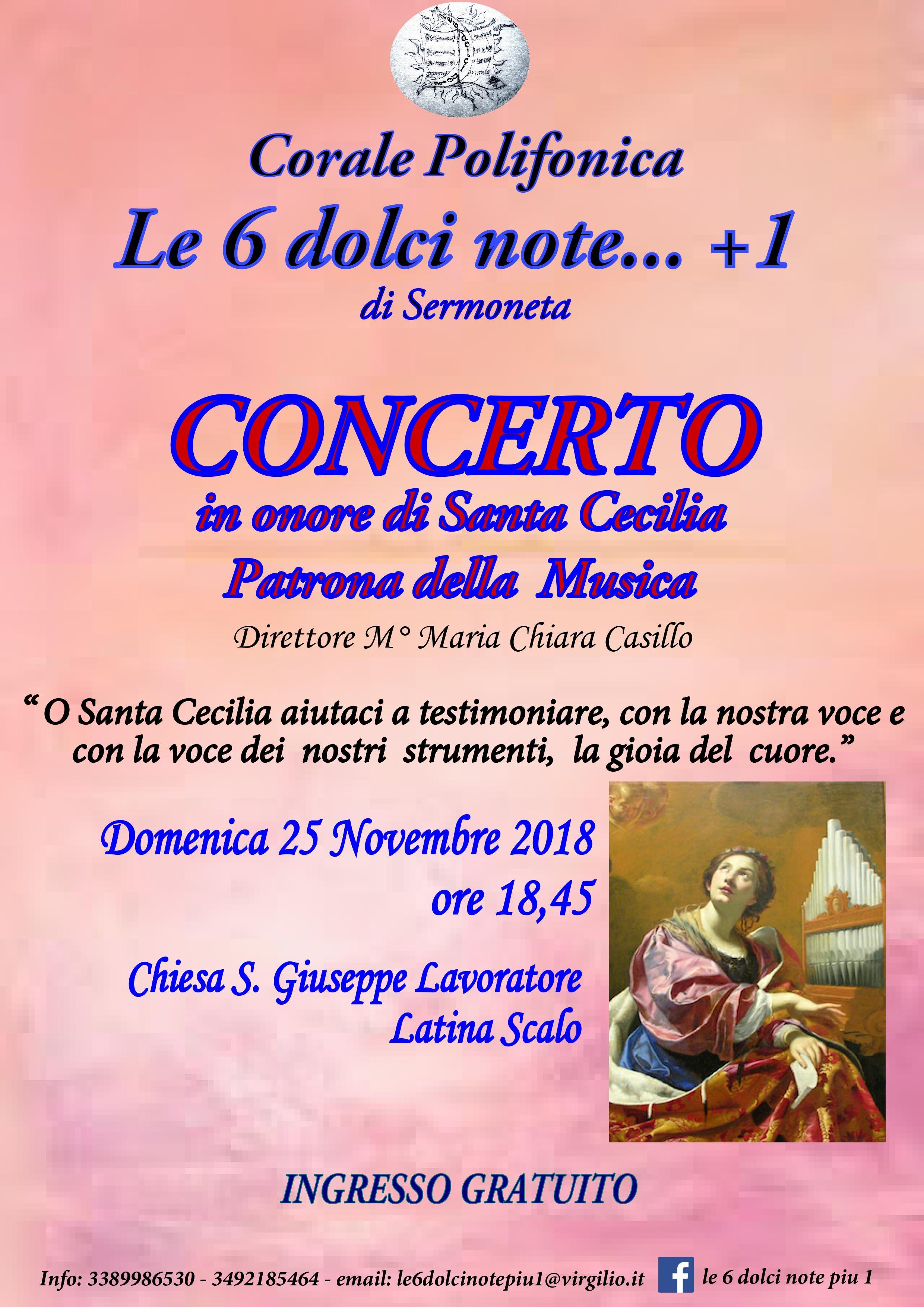 Locandina Festeggiamenti santa cecilia 2018 - Latina Scalo