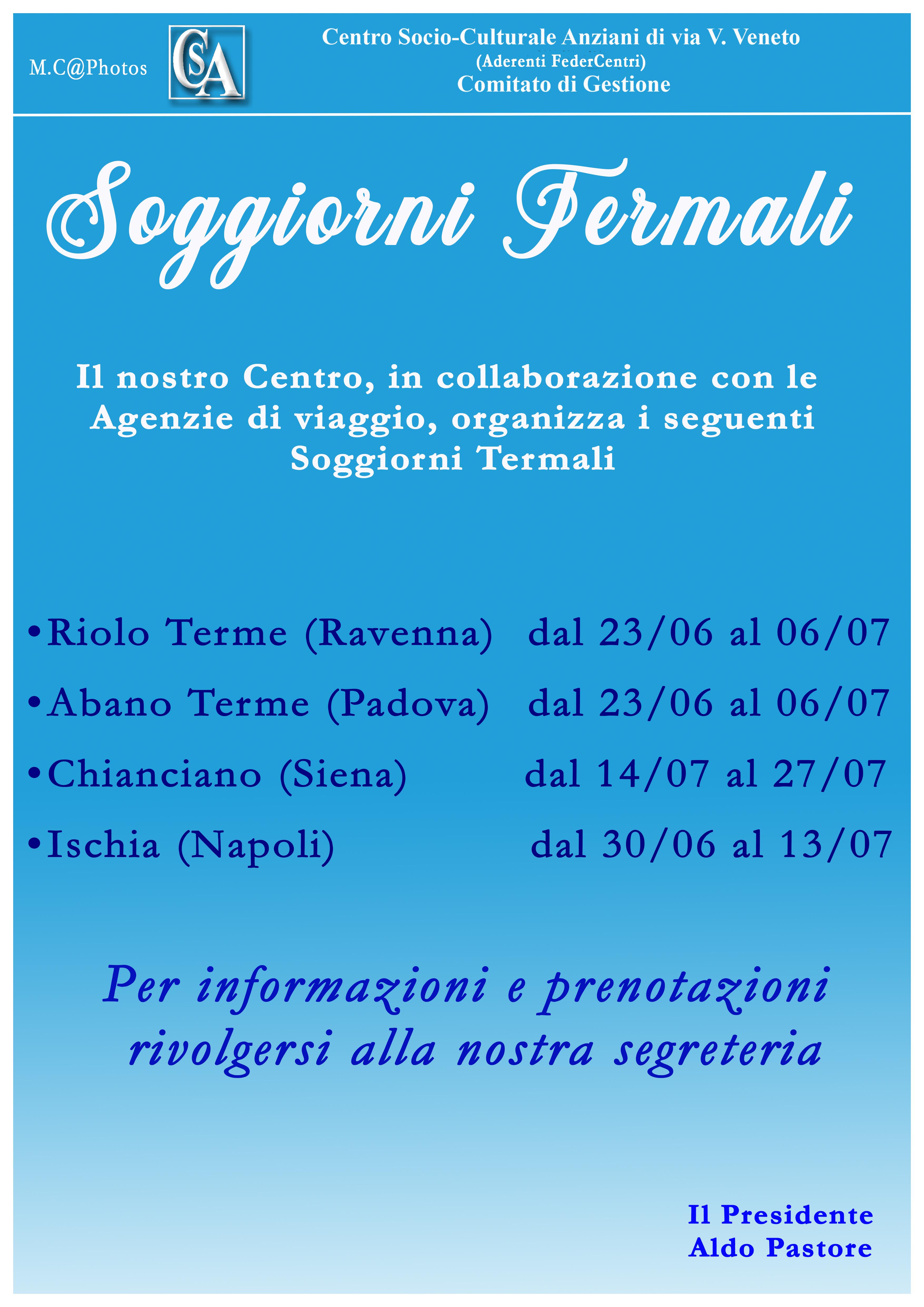 Soggiorni termali centro socio culturale anziani for Soggiorni termali